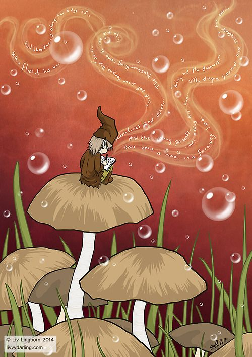 """""""Childhood stories"""" by Liv Lingborn 2014. Gnomes and mushrooms, a favourite combination. Ah, the magic of childhood imagination..."""
