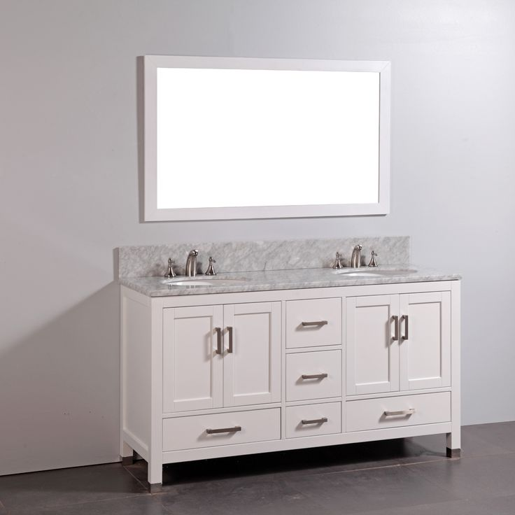 Legion Furniture WA6160 60-in Solid Wood Double Bathroom Vanity with Sink and Mirror | ATG Stores