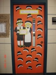 """November Classroom Door - Everything on this door is cut from construction paper or the large colored butcher block paper you get from craft stores and parent teacher stores. The teacher's name at the top and the sign with the verse """"In Everything Give Thanks"""" from I Thessalonians were printed from the computer. The children's names were printed on sheets of white cardstock, then they were cut into the fronts of pilgrim bonnets for the girls and hat bands for the boys. The class loved it!"""