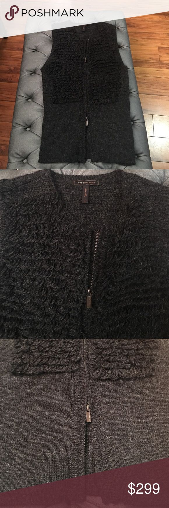 BCBG Maxazria vest Charcoal grey stunning vest. Size Medium. Stretchy warm and classy. Dress up any jeans or leggings. Double zipper from bottom and top BCBGMaxAzria Jackets & Coats Vests