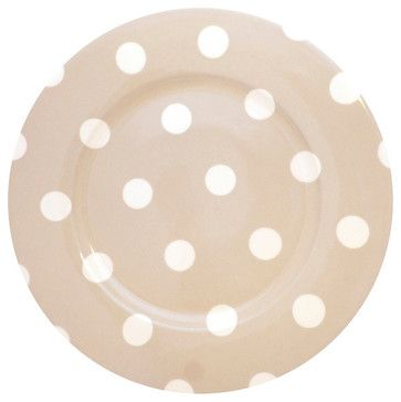 Sabre Paris Porcelain Polka Dot Dinner Plate, Kaki transitional-plates