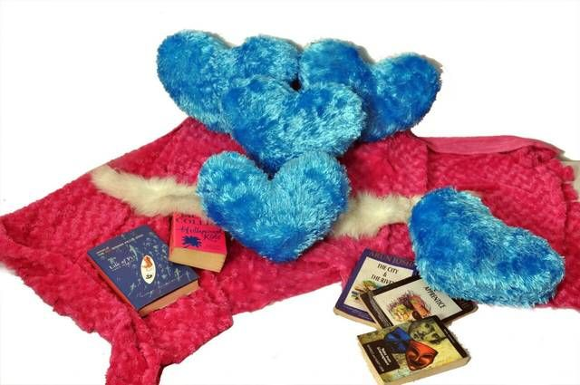 Sky Blue Color Valentine Heart Cushion Pack Of 5