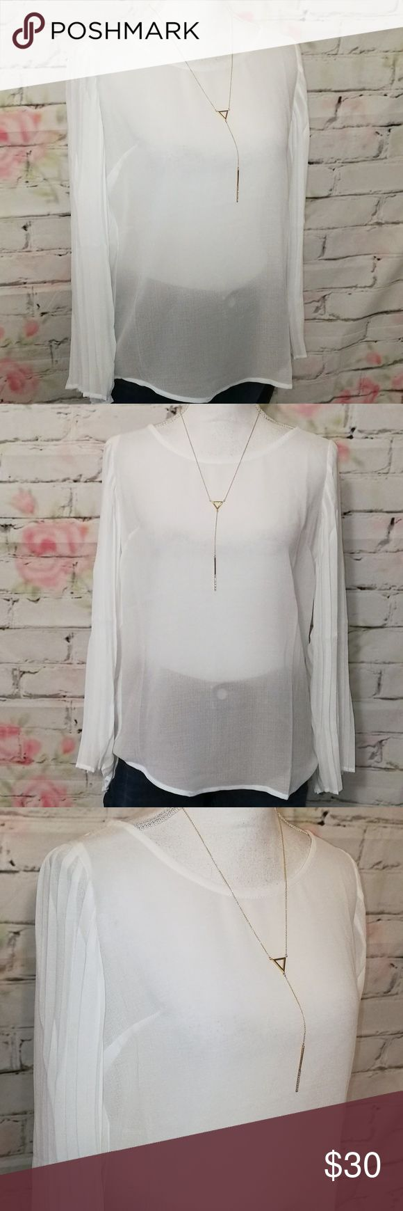 """🆕♥️Love Riche Pretty, Sheer White Peasant Blouse Pretty, Sheer White Peasant style blouse from Love Riche  - beautiful wide, pleated sleeves  - slight high-low style - pleated lightly at back neckline - laying flat, measures approx 10.5"""" across chest  - polyester Love Riche Tops Blouses"""