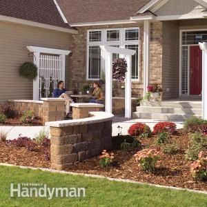 Inexpensive Landscaping for Attractive Entryways....Give the front of your home curb appeal by adding a trellis, arbor and low wall. These projects are all low-cost and easy enough to do yourself. This simple entryway face-lift will make your home more inviting and add value when it comes time to sell.