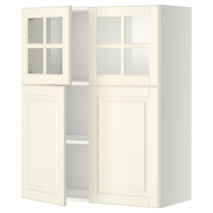 METOD Wall cab w shelves/2 drs/2 glss drs - white, Bodbyn off-white - IKEA