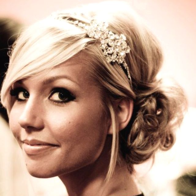 wedding hair - side-swept messy bun with headband.. think this could be done with my short hair maybe pinned back once curled??