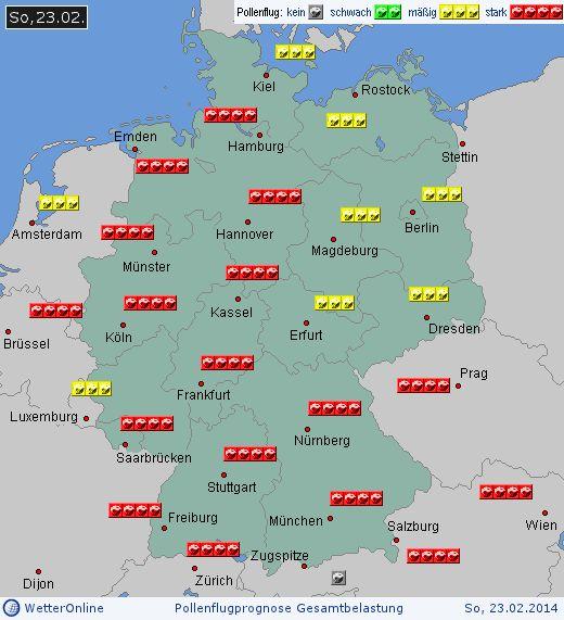 Deutschland: Pollenflugvorhersage Gesamtbelastung für Sonntag, den 23.02.2014