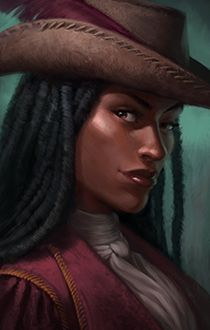 portrait human female afro pirate merchant ambassador diplomate from Pillars of Eternity