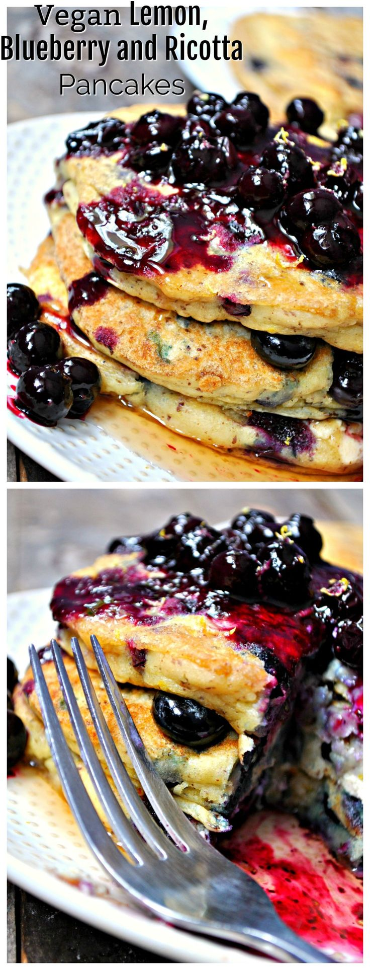 Vegan Lemon, Blueberry and Ricotta Pancakes