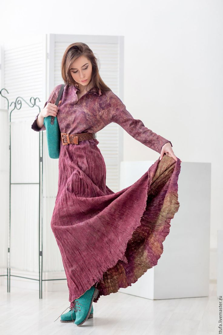 """Купить Двухстороннее платье из шелка и шерсти """"Бургундия"""" - бордовый, винный, бохо, платье макси"""