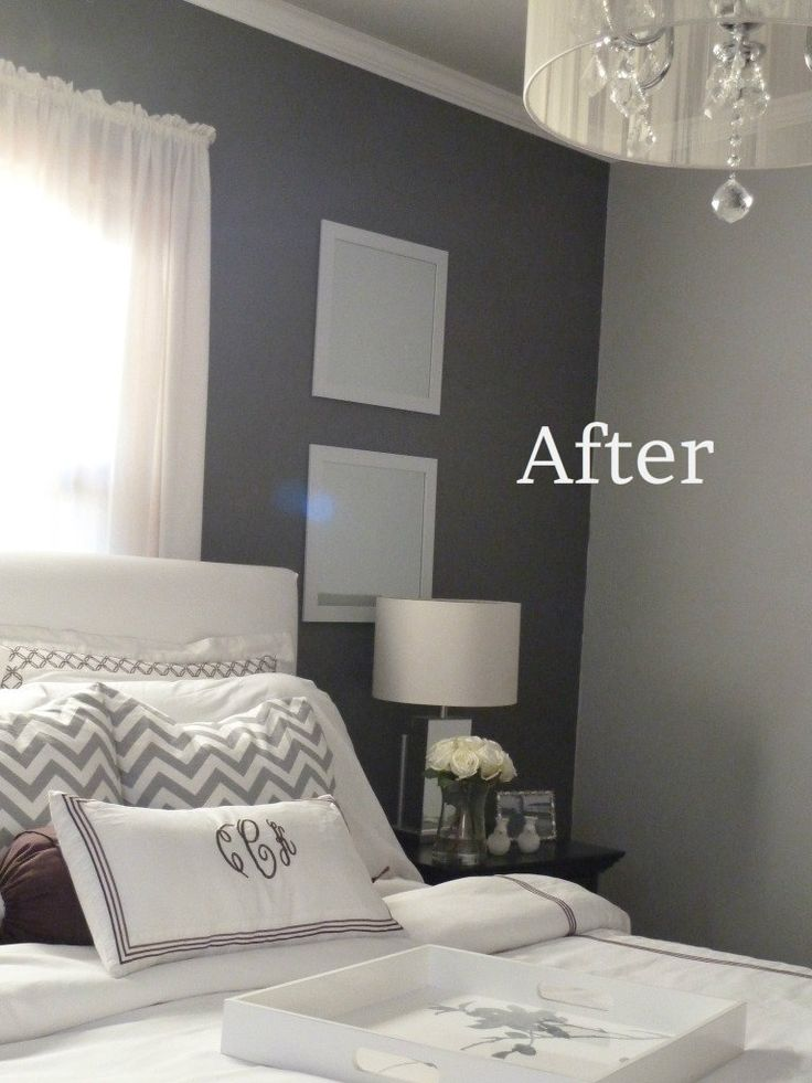 Grey Bedroom. The color on the walls: the light- valspar seashell gray (4003-1A) & the dark- valspar rugged seude (4003-2B). Both at Lowes.