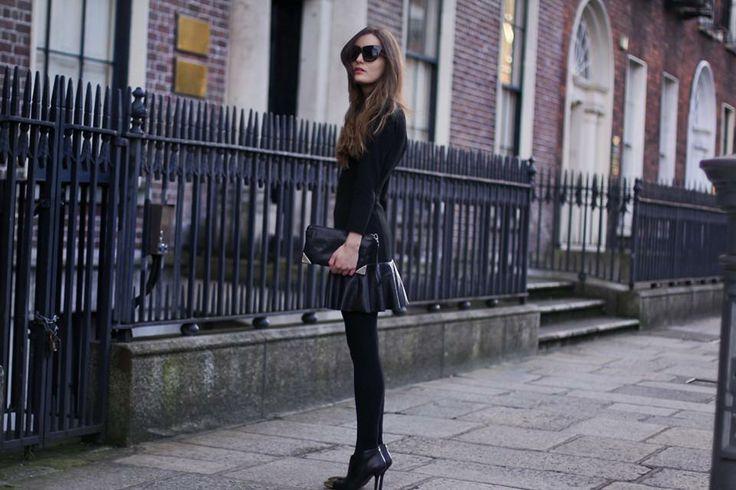 Shop this look on Kaleidoscope (skirt, sweater, pumps)  http://kalei.do/WkSprFl9fzQ2zQPN