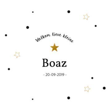 Klassiek geboortekaartje met gouden sterren en confetti