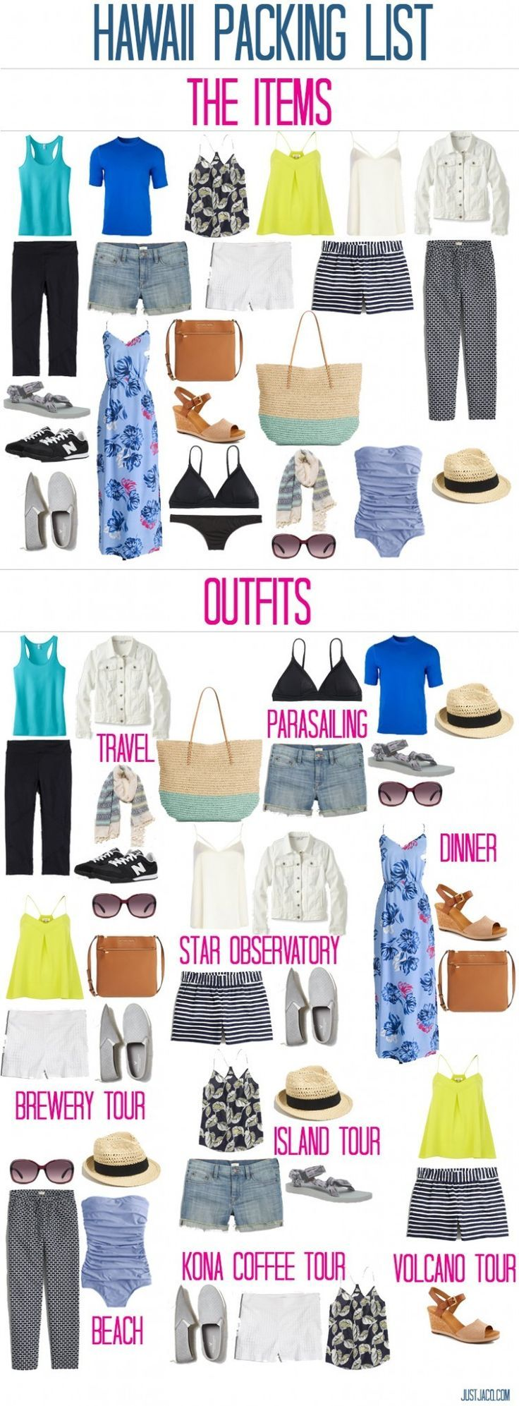 7 Day trip to Hawaii in a carry on suitcase! How to pack a capsule wardrobe in a carry on suitcase. Check out this super simple guide to packing and creating outfits for traveling! What to wear to a tropical island. @justjacq www.justjacq.com http://www.j