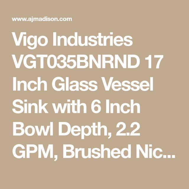 Vigo Industries VGT035BNRND 17 Inch Glass Vessel Sink with 6 Inch Bowl Depth, 2.2 GPM, Brushed Nickel Faucet, IAPMO Certified and Matching Drain Included: Sheer Black