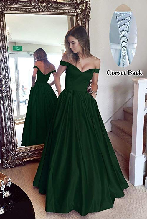 28711c33e727 Off The Shoulder Beaded Satin Evening Prom Dress with Pockets ...