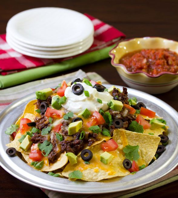 7 fantastic nacho variations for a Super Bowl party (or any day, if you're us!): Sweet, Chilis Con Carne, Nachos Recipes, Apples Butter, Slow Cooker Chilis, Spicy Beef, Super Bowls Food, Games Day Recipes, Beef Nachos