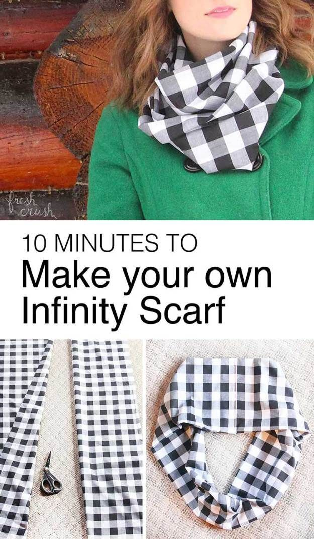 How to make an infinity scarf. Step by step tutorial with less than a yard of fabric and ten minutes, you'll be on your way to sewing your first infinity scarf in no time! http://www.freshcrush.com