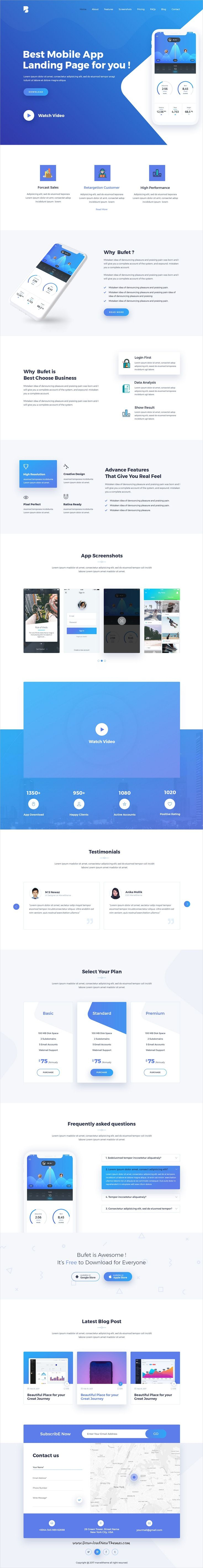 Bufet is clean and modern design #PSD template for #app, SaaS and software #landingpage website with 13 layered PSD pages to live preview & download click on Visit