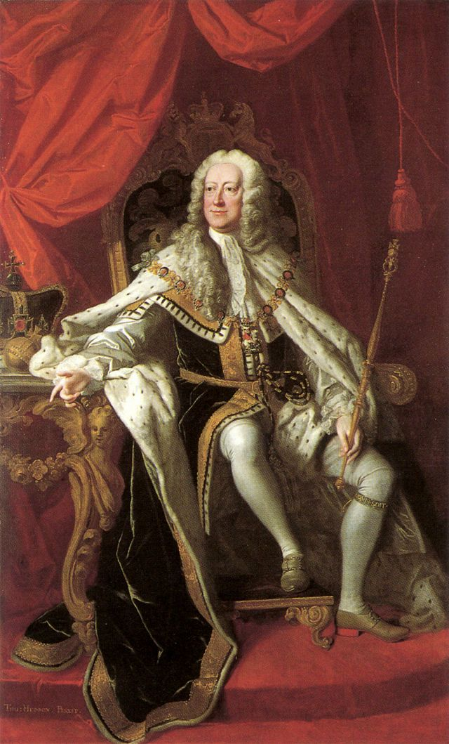 Portrait by Thomas Hudson, 1744 - George II (1683 – 1760) was King of Great Britain & Ireland, Duke of Brunswick-Lüneburg (Hanover) & Prince-elector of the Holy Roman Empire from 11 June 1727  until his death. George was the last British monarch born outside Great Britain. In 1701, his grandmother, Sophia of Hanover, became second in line to the British throne after about 50 Catholics higher in line were excluded by the Act of Settlement, which restricted the succession to Protestants.
