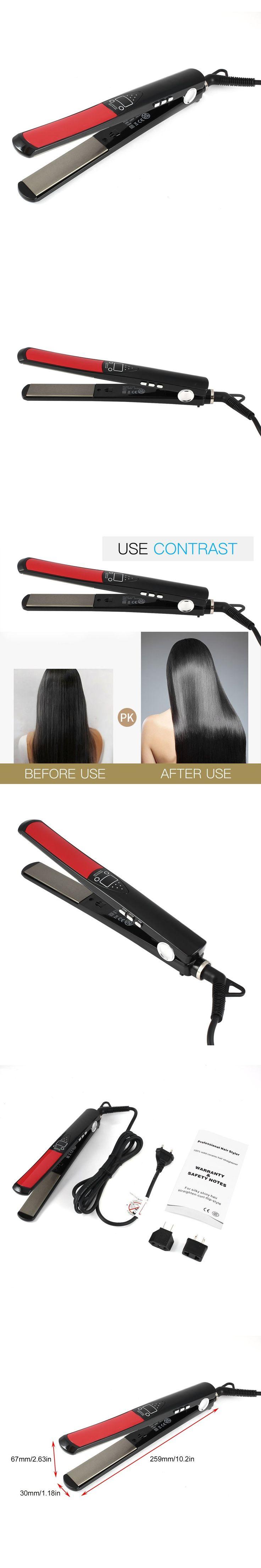 Hair Straightener for Silky Shiny Hair Styler Solid Ceramic Hair Straighten-Curl-Flip Style Home Hair Salon  EU/ US/AU plug