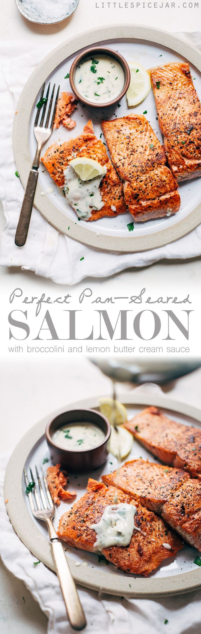 Perfect Pan Seared Salmon with a 4 Ingredient Lemon Butter Cream Sauce | Littlespicejar.com
