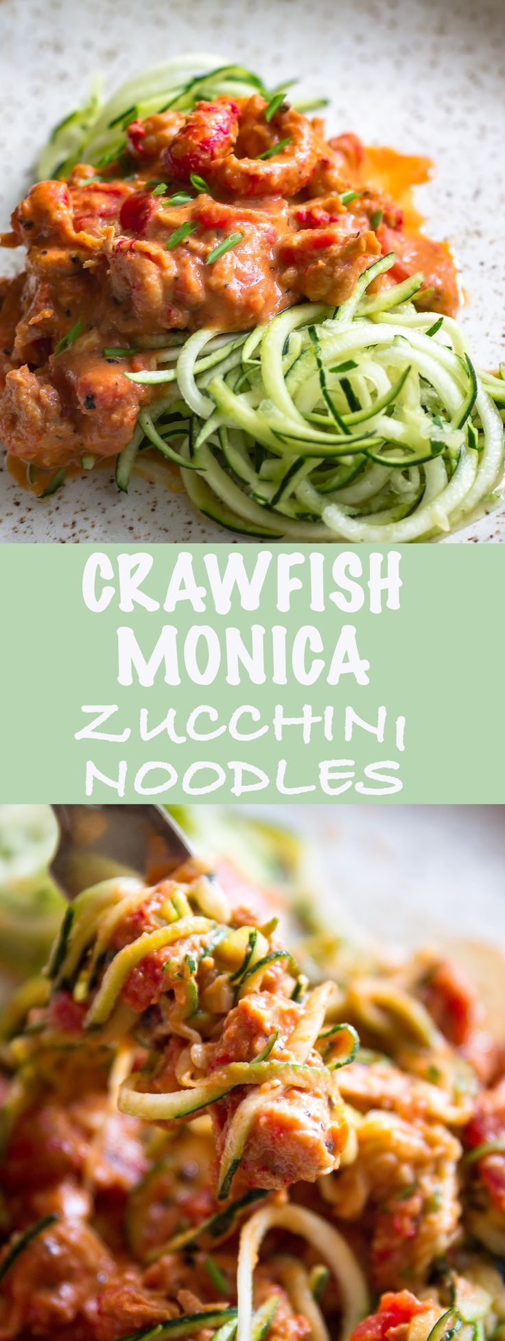 Spiced crawfish tails in a creamy tomato sauce poured over zucchini noodles. Quick and tasty!