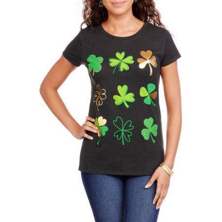 Women's Gold Foil Clovers St. Patrick's Day Graphic T-Shirt, Size: Medium, Black
