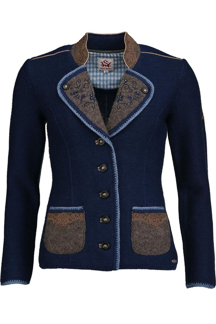 Strickblazer Stickerei blau