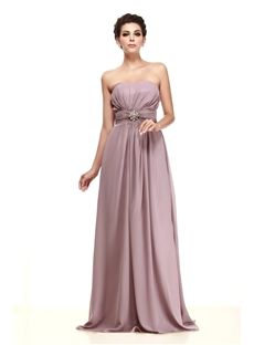 Fabulous Ruched Floor-length Crystal Floral Pin Strapless Taline's Bridesmaid Dress & inexpensive Bridesmaid Dresses