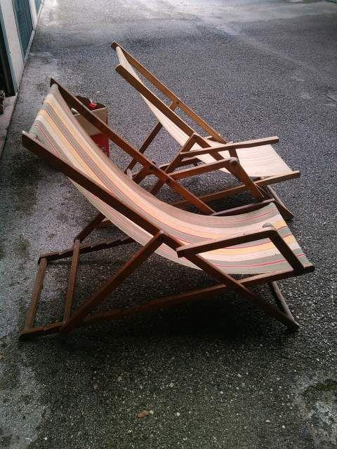 Sedie a sdraio legno bvecchie vintage 3