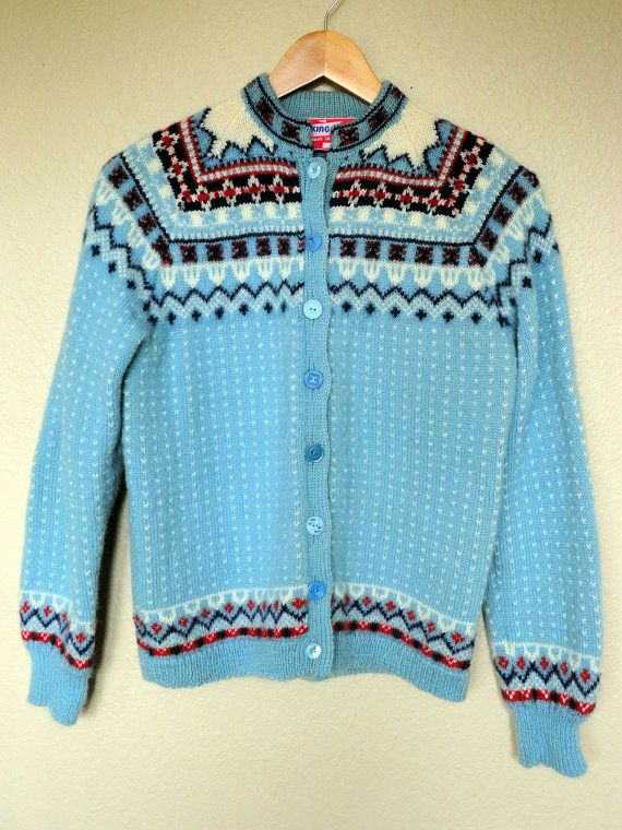 In Sale! Cool Ice Blue 1960's Vintage Women's 100% Wool Nordic Sweater Made in Norway