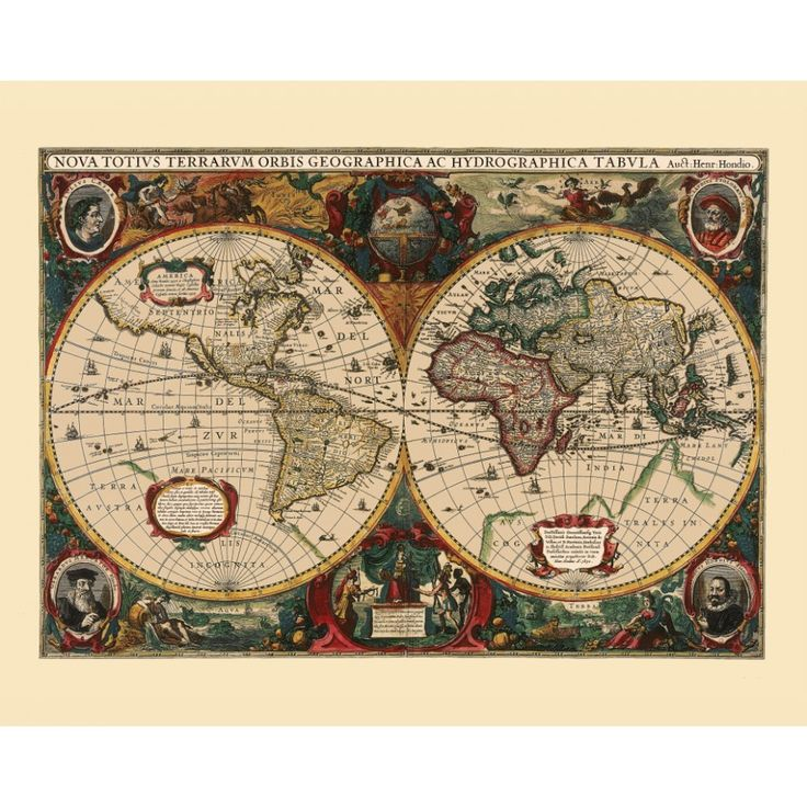 Vintage world map poster. Handmade paper print. Wall decor for living room.