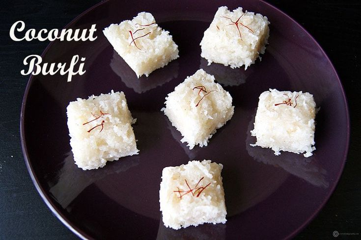 Coconut Burfi is an easy to make, delicious South Indian sweet made from freshly grated coconut and sugar. Perfect for celebrations like Diwali, Holi, etc.