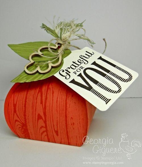 Adorable Pumpkin Treat Box with Stampin' Up!'s Curvy Keepsake Box Thinlit! Details on my blog! www.stampingeorgia.com