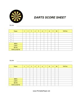 This Darts Score Sheet has space to record your scores for everybody's favorite pub game. Free to download and print