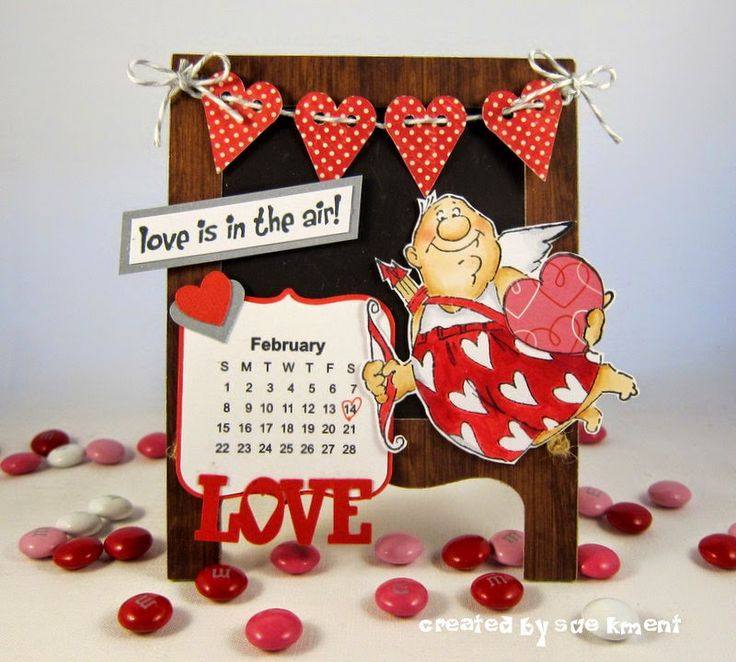 Val Set ... Love is in the Air! Art Impressions February Calendar... Handmade cupid easel craft.