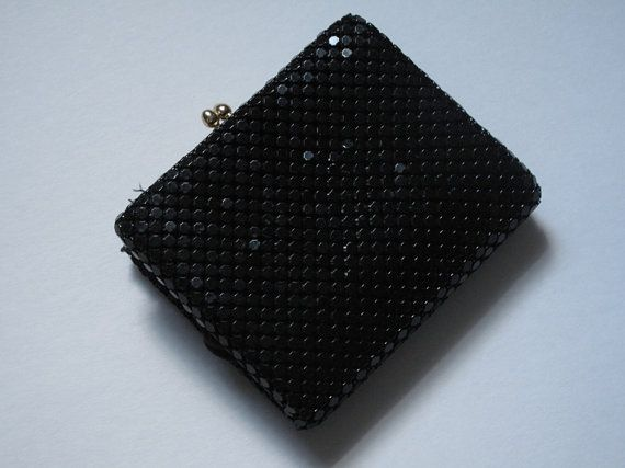 Vintage Black Whiting and Davis Wallet Coin Purse by InkVintageCo