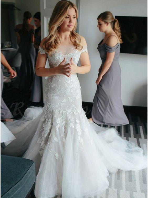 Off Shoulder Mermaid Lace Cheap Wedding Dresses Online Cheap