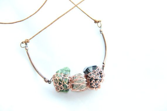 Three little stones necklace featuring wire woven Black Tourmaline, Pyrite and Chrome Diopside by Somsri, $45.00 #Jewelry #Handmadejewelry #Necklace #Stone #Crystal #Jewellery #Handmade #Handmadejewellery #Gemstone #Pendant #Wirewrapped #Quartz #Somsri #ChromeDiopside #Pyrite #Blacktourmaline
