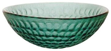 Vessel Sinks Emerald Green Glass Frosted Round Vessel Sink transitional-bathroom-sinks