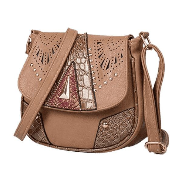 Geometric Hollow Out Rivet Crossbody Bag Deep Brown ($13) ❤ liked on Polyvore featuring bags, handbags, shoulder bags, crossbody shoulder bag, geometric handbag, brown cross body purse, brown handbags and beige shoulder bag