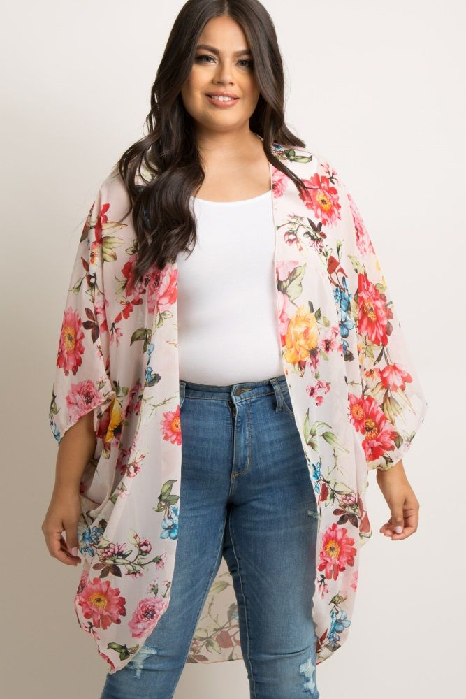 0e01166ab Pink Floral Chiffon Dolman Plus Kimono A plus size pink flowy floral print  kimono featuring a lightweight, semi-sheer chiffon material, 3/4 sleeves,  ...