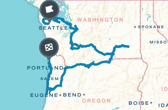 A Pacific Northwest adventure: Rainforests and waterfalls Map