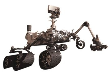 Curiosity's size allows it to carry a plethora  of scientific experiments that will be able to snap, analyze and take pictures of any rock within reach of its 7-foot (2 meters) arm. Curiosity is about the size of a small SUV. It is 9 feet 10 inches long by 9 feet 1 inch wide (3 m by 2.8 m) and about 7 feet high (2.1 m). It weighs 2,000 pounds (900 kilograms). Curiosity's wheels have a 20-inch (50.8 cm) diameter. Its top speed is 4 cm/s.