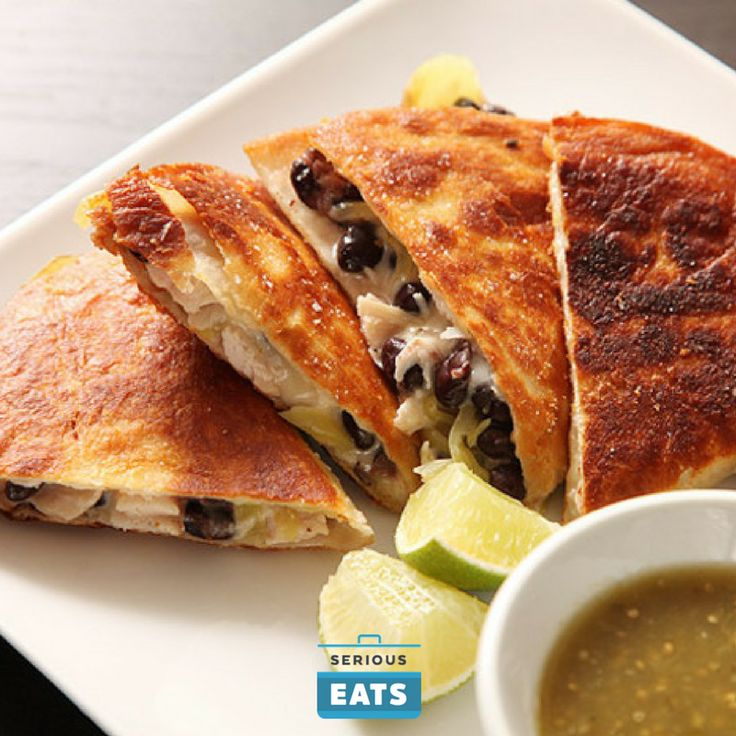 Crispy fried quesadillas made with leftover roast turkey and canned black beans.