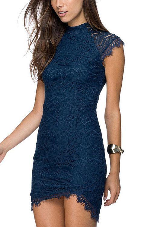 Bodycon Navy Delicate Lace Dress -YOINS