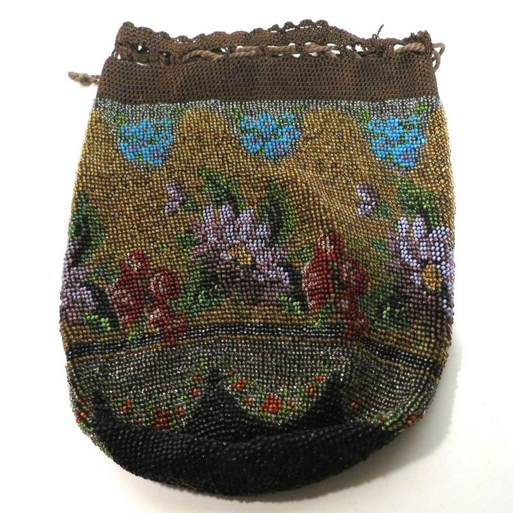 Vintage Antique Beaded Purse Reticule Bag Handbag Flowers
