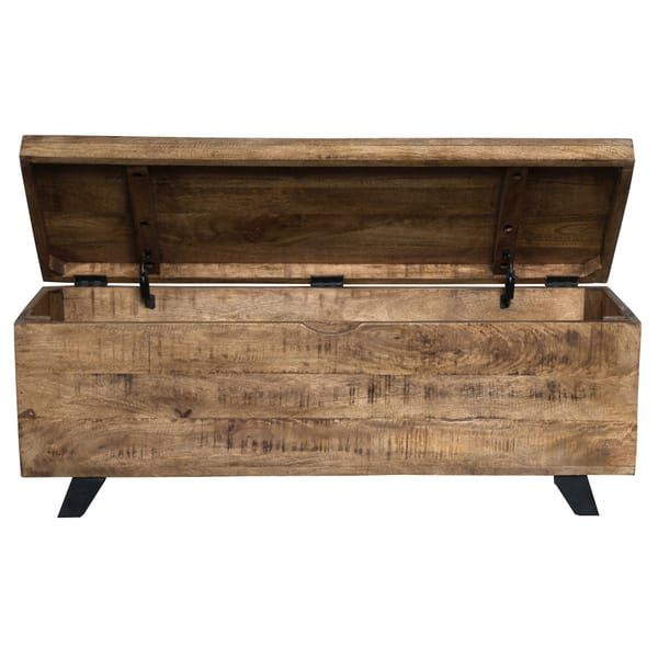 Axis Mid Century Raw Mango Wood Storage Chest by Kosas Home