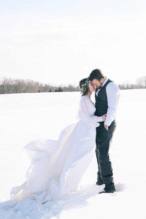 Romantic Snowy Wedding Portrait | Nicole Colwell Photography | A Dream of Spring - Vintage Floral Wedding in the Snow